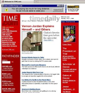 Time magazine web page in February 1999